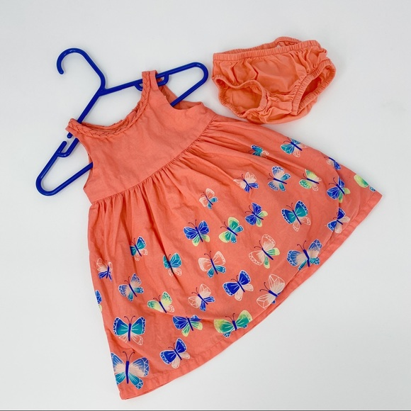 Gymboree Butterfly Peach Orange Dress with Bloomer